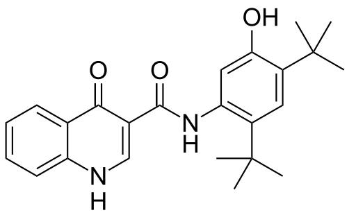 The molecular structure of Ivacaftor (Kalydeco).